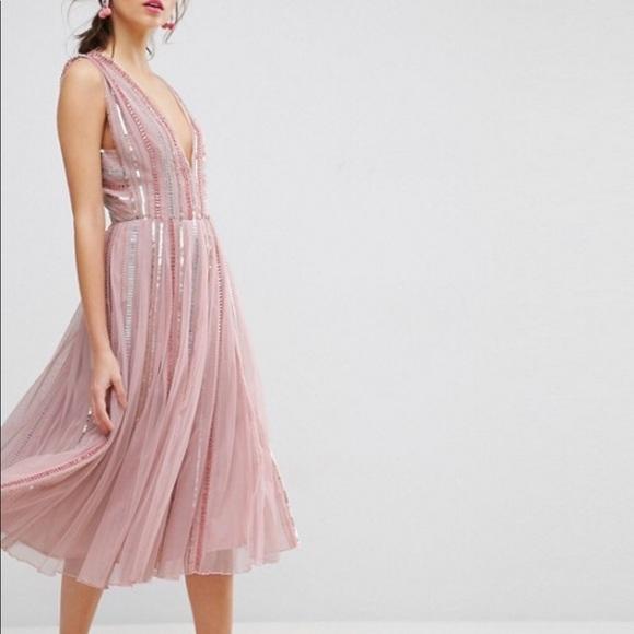 Asos Dresses Salon Sequin Mesh Fit Flare Midi Dress Poshmark